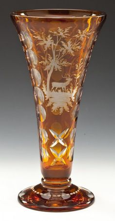 Bohemian Amber Cut To Clear Glass Vase