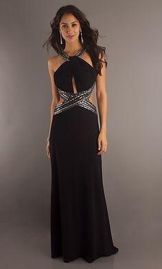 c3a6cc49296 Black Cut Out Formal Halter Gown by Betsy Adam BA-11023 www.dresseswd.