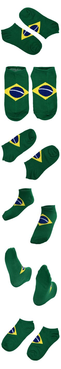 Pair of Candy Color Brazilian Flag Pattern Cotton Socks For Men