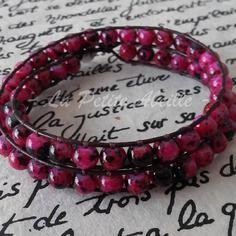 Bracelet wrap 2 tours - perles de verre