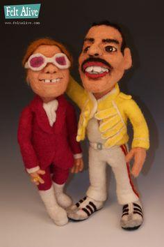 Needle Felted Freddie Mercury Caricature Doll by Kay Petal - Felt Alive Wool Sculptures