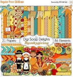 50% OFF TODAY Thanksgiving Scrapbook Kit w Turkey, Pilgrim, Pumpkin, for Digital Scrapbooking, Fall Cards, Crafts, Orange, Yellow, Teal  #scrapbooking #fall #autumn #digiscrapdelights #thanksgiving