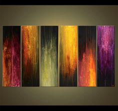 large abstract painting colourful vertical multi panel