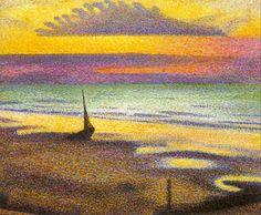 Georges Lemmen - Plage à Heist, 1891, oil on wood