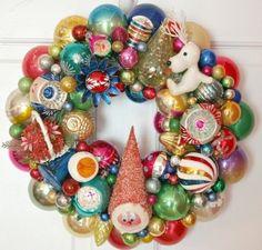 Vintage Ornament Wreath Shiny Brite - Suzy Spence