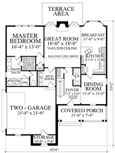 Turn dining into bdrm 2 and make one story. Downsize foyer to give kitchen more space and allow full 2nd bath. First Floor Plan of Cape Cod   Cottage   Country   French Country   House Plan 86109