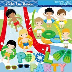 Jongens Pool Party / zwemmen uitnodiging voor feest / zwemmen