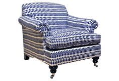 "Joplin Chair, White/Cobalt 10-24-14 $1,799 sold, by Kim Salmela, frame alder, linen, feather/down/poly fill, nichel casters, 36.5""w x 37""d x 35.5""h seat height 18"""