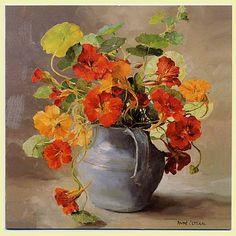 """Anne Cotterill (British, 1933 - 2010) - """"Nasturtiums"""""""
