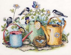 punto de cruz Dimensions Watering Cans Stamped Cross Stitch Kit - Cross Stitch Bird, Cross Stitch Animals, Cross Stitch Flowers, Counted Cross Stitch Patterns, Cross Stitch Charts, Cross Stitch Designs, Cross Stitching, Cross Stitch Embroidery, Embroidery Patterns