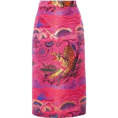 Gucci Metallic jacquard midi skirt (€1.425) ❤ liked on Polyvore featuring skirts, gucci, fuchsia, pink skirt, fuchsia pencil skirt, pink midi skirt and calf length pencil skirts