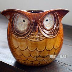 Ceramica buho coruja Pluma decoración del hogar caja de Búho florero maceta artesanía artesanía habitación decoración figura de porcelana tarro De Almacenamiento(China (Mainland))
