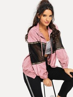 Shop Mesh Insert Drawstring Hooded Windbreaker Jacket at ROMWE, discover more fashion styles online. Athleisure Outfits, Sporty Outfits, Athletic Outfits, Cool Outfits, Fashion Outfits, Fashion Styles, Leggings Outfit Summer, Black Leggings, Coats For Women