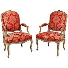 Antique Pair of Louis XV Fauteuils   From a unique collection of antique and modern armchairs at http://www.1stdibs.com/furniture/seating/armchairs/