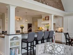 If a wall needs to be taken out to open up kitchen, use posts on load bearing wall