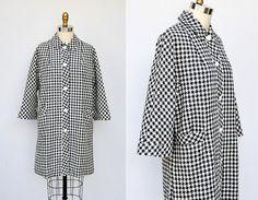 SALE 60s Checkered Jacket Coat  Gingham Coat Jacket  Button