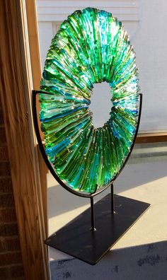 "Larry Pile/Kessler Craftsman Kiln Glass Sculpture ""Vitrium V""(use uneven side pieces) Glass Wall Art, Fused Glass Art, Stained Glass Art, Mosaic Glass, Window Glass, Verre Design, Glass Design, L'art Du Vitrail, Glass Fusion Ideas"