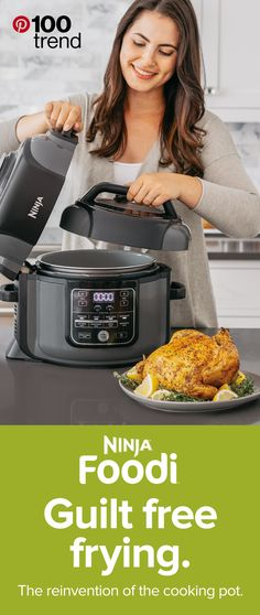 Say hello to the new fried food - the Ninja® Foodi™ Pressure Cooker. Transform frozen ingredients into crispy meals; cook proteins, veggies, and grains all together; or freestyle and create your own signature Foodi™ dishes. Tap the Pin to learn more! Instant Pot Pressure Cooker, Pressure Cooker Recipes, Pressure Cooking, Cooking Gadgets, Cooking Tips, Cooking Recipes, Kitchen Gadgets, Cooking Supplies, Ninja Recipes