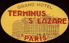 luggage label: Grand Hotel, Terminus St. Lazare, Paris