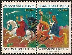 Venezuela: Navidad 1973  Impresas: Litografía del Comercio Caracas Hojas de 20 estampillas conteniendo 10 series con dos valores de 0,30 Bs.  Perforación: 14 x 13 ½ Primer día de circulación: Diciembre 5, 1973.