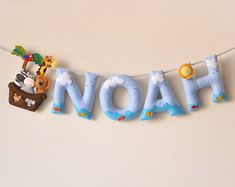 Felt name banner, Noah's ark, nursery decor, baby room, personalized gift, baby felt letter, child room, baby name garland, custom felt name