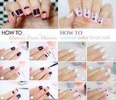 Modele unghii naturale pas cu pas Color Block Nails, Summer Colors, Manicure, Tattoo, Nail Bar, Nails, Summer Colours, Polish, Manicures