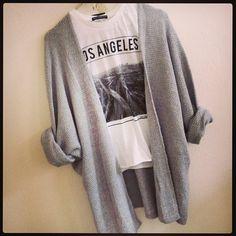 Brandy Melville Los Angeles Tee + Oversized Cardigan