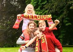 royalwatcher: Belgian Royal Children cheer on the home team, the Red Devils, June 2016-Princess Eléonore, Princess Elisabeth, Prince Gabriel, Prince Emmanuél