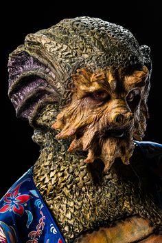 Daniel's creation from Dragon's Breath Season 6 - Episode 3 Scary Makeup, Fx Makeup, Face Off Syfy, Special Effects Makeup Artist, Prosthetic Makeup, Special Makeup, Alien Concept, Alien Races, Creature Feature