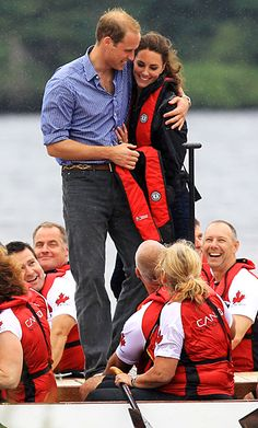 Prince William held Kate Middleton tight after a boat race in Canada.