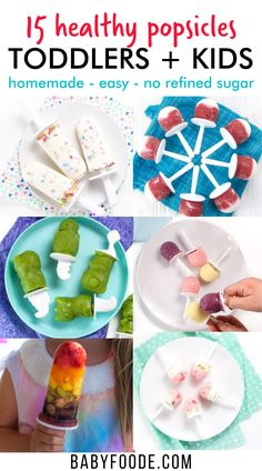 These 15 Homemade and Healthy Popsicles are great summer treats for your toddlers and kids! Made with fresh fruit, natural sweeteners and some even have hidden-veggies 😉. Plus – I have a guide on the easiest way to make and freeze popsicles! Healthy Popsicle Recipes, Healthy Popsicles, Homemade Popsicles, Baby Food Recipes, Healthy Store Bought Snacks, Healthy Meals For Kids, Popsicle Recipe For Toddler, Snacks For School Lunches, Kid Meals