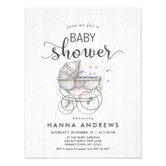 Shop White Wood & Carriage Boy Baby Shower Invitation created by GraphicBrat. Wood Invitation, Custom Baby Shower Invitations, Baby Shower Invites For Girl, Rustic Invitations, Floral Invitation, Baby Boy Shower, Baby Shower Gifts, Invitation Cards, Wood Gifts