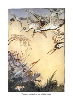 'They were constantly at war with the cranes' an Illustration from 'The Pygmies' one of the 'Tanglewood Tales' – Illustrated by Milo Winter