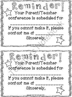 Parent Teacher Conference Reminder product from Inspiring-Lil-Minds on TeachersNotebook.com