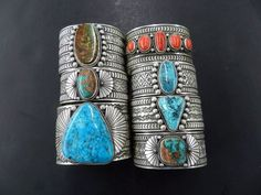Turquoise and Coral Bracelets by Sunshine Reeves