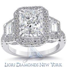 4.27 Carat G-VS1 Radiant Cut Natural Diamond Engagement Ring 14K Vintage Style    lioridiamonds.com
