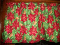Christmas Poinsettia Pine Cone Holly Ivy winter holiday fabric curtain Valance  #Handmade #Traditional