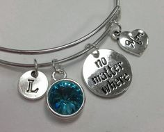 Mom No Mtter Where I love you to the moon and back Initial Birthstone Bangle