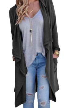 Her Fashion Vibe Grey Drapery Open Front Back Slit Oversize Coat