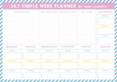 Free Printable 3x3 Weekly Planner from Team Confetti