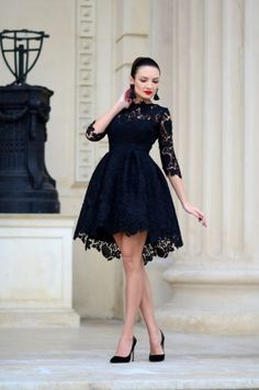 Lace Bloom Black Luxe Skater Dress – modayladans