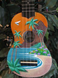 Hand painted Tropical Beach Ukulele by UkuleleBreeze on Etsy, $110.00