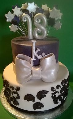 18th Birthday damask, bow, stars