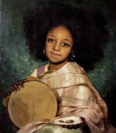 Charles Auguste Corbineau (1884) - Young girl with tambourine