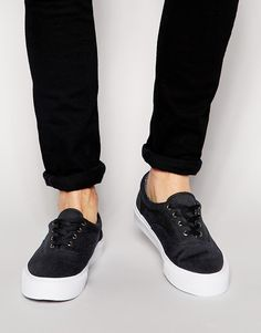 ASOS Lace Up Plimsolls in Canvas