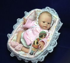 One of A Kind 5 Inch Original Handsculpted Polymer Clay Baby Girl Art Doll