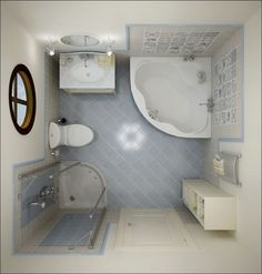 Inspirational Small Bathroom Ideas With Corner Tub Also Vanities As Well As Small Corner Amazing Showers In Tiny Bathroom Decors Basement Bathroom, Bathroom Interior, Bathroom Remodeling, Remodeling Ideas, Bathroom Makeovers, Bathroom Plumbing, Ikea Bathroom, Bathroom Laundry, House Remodeling