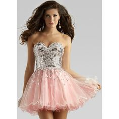 Pink Strapless Sequined Beaded Ruffled A Line Homecoming Dress ❤ liked on Polyvore featuring dresses, short dresses, prom dresses, cocktail prom dress, cocktail party dress and strapless dress