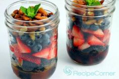 This summer salad features layers of strawberries, blueberries, blackberries, and almonds. A delicious dressing made with orange juice and honey adds a final touch of tart and sweet.