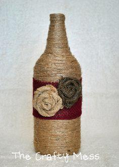 Twine bottle with burlap flowers